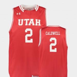 Men's Basketball Red Replica Utah Utes #2 Kolbe Caldwell College Jersey
