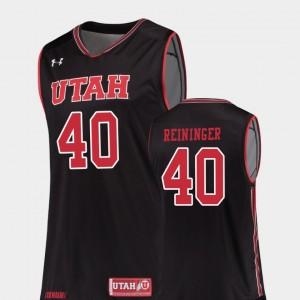 University of Utah Marc Reininger College Jersey Basketball Black Mens Replica #40