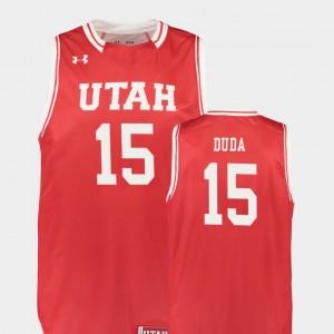 Men Red Basketball Nate Duda College Jersey Utah Utes #15 Replica