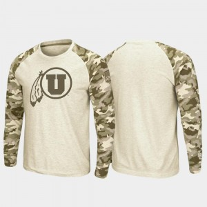 Raglan Long Sleeve Mens OHT Military Appreciation College T-Shirt Oatmeal Utah