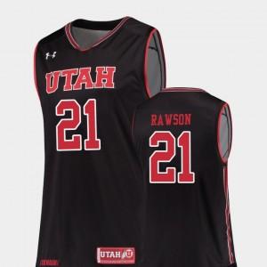 Basketball Men's #21 Replica Tyler Rawson College Jersey Black Utah Utes