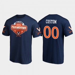 College Customized T-Shirt 2019 ACC Coastal Football Division Champions Navy For Men's UVA #00