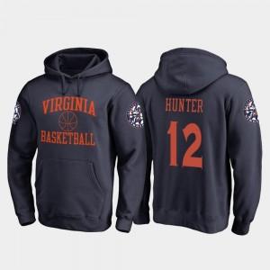 Cavalier #12 In Bounds De'Andre Hunter College Hoodie Navy Basketball For Men's