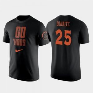 #25 Black Mamadi Diakite College T-Shirt 2 Hit Performance Virginia Cavaliers Men Basketball