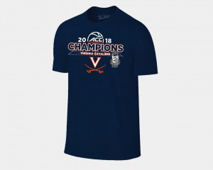 Basketball Conference Tournament Cavalier 2018 ACC Champions Locker Room Navy Men College T-Shirt