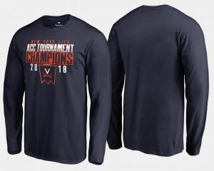 2018 ACC Champions Long Sleeve Basketball Conference Tournament Cavaliers Mens Navy College T-Shirt