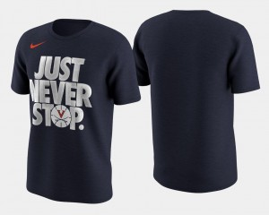 UVA Cavaliers Navy March Madness Selection Sunday Basketball Tournament Just Never Stop College T-Shirt Mens