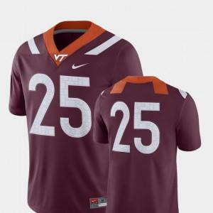 #25 College Jersey Virginia Tech Men's 2018 Game Football Maroon