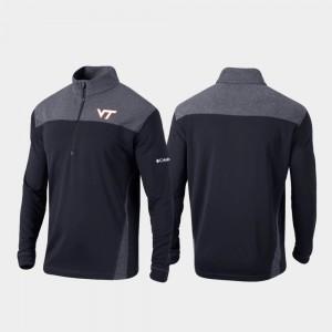 Black College Jacket Quarter-Zip Pullover Hokies Omni-Wick Standard For Men
