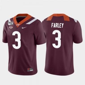 Men VA Tech Football Caleb Farley College Jersey Game #3 Maroon