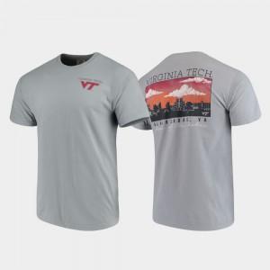 Comfort Colors For Men's Hokies Gray Campus Scenery College T-Shirt