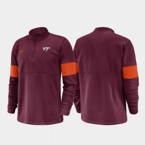 VA Tech 2019 Coaches Sideline Half-Zip Performance Maroon College Jacket Mens