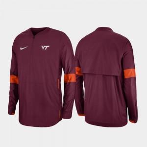College Jacket Quarter-Zip For Men VT Hokies Maroon 2019 Coaches Sideline
