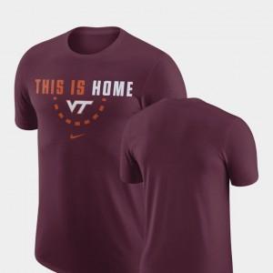 Maroon VT Hokies College T-Shirt For Men's Basketball Team