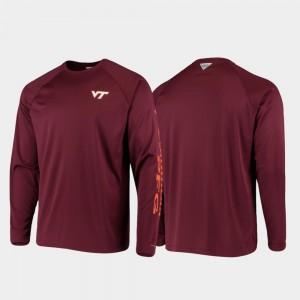 PFG Terminal Tackle Long Sleeve Maroon College T-Shirt For Men's Omni-Shade VT Hokies