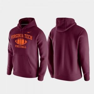 Club Fleece Virginia Tech College Hoodie For Men's Retro Football Maroon
