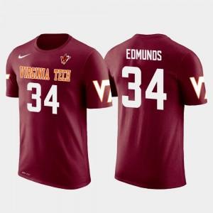 Crimson Men's VT Terrell Edmunds College T-Shirt Pittsburgh Steelers Football Future Stars #34