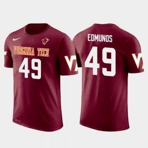 #49 Hokie For Men Tremaine Edmunds College T-Shirt Future Stars Buffalo Bills Football Crimson