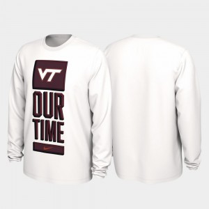 College T-Shirt White Virginia Tech Hokies Men Our Time Bench Legend 2020 March Madness