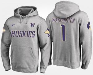 Mens #1 University of Washington Gray No.1 College Hoodie