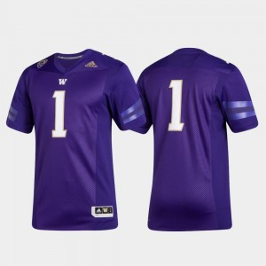 College Jersey #1 Purple Premier Football UW Huskies For Men