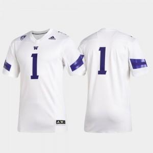 #1 Football White Premier Washington Huskies For Men's College Jersey