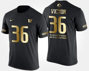 Azeem Victor College T-Shirt Gold Limited #36 For Men Short Sleeve With Message Black Washington Huskies