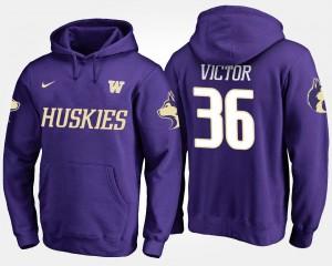 Men #36 UW Huskies Purple Azeem Victor College Hoodie