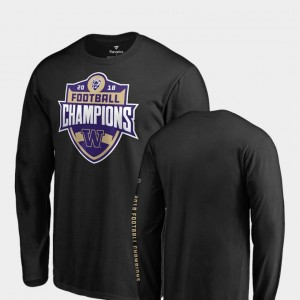 Long Sleeve Black For Men College T-Shirt UW 2018 PAC-12 Football Champions