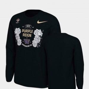 Verbiage Long Sleeve Black For Men College T-Shirt 2019 Rose Bowl Bound Washington