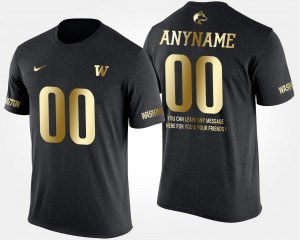 Black College Custom T-Shirts For Men's #00 Washington Huskies Gold Limited Short Sleeve With Message