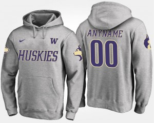 Gray UW Huskies College Customized Hoodies Men's #00