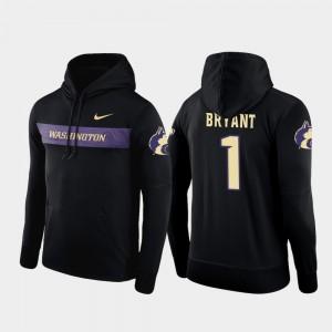For Men Football Performance UW Huskies Sideline Seismic Hunter Bryant College Hoodie #1 Black