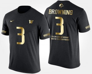 Short Sleeve With Message Jake Browning College T-Shirt UW Huskies Black #3 Gold Limited Men's