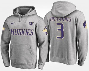Jake Browning College Hoodie UW Gray #3 Men's