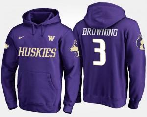 Jake Browning College Hoodie Purple #3 Men University of Washington