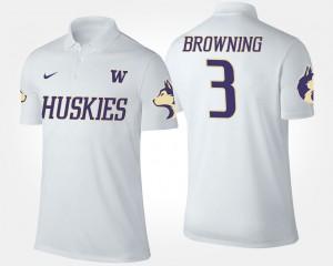 White #3 University of Washington Jake Browning College Polo For Men's