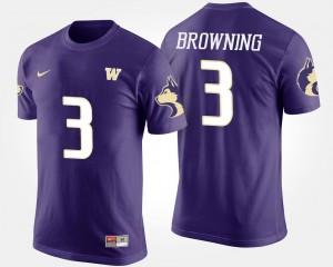 #3 Purple Washington Huskies Jake Browning College T-Shirt For Men