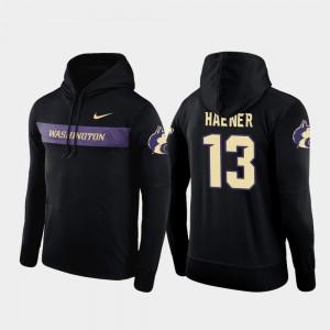 #13 Mens Black University of Washington Sideline Seismic Jake Haener College Hoodie Football Performance
