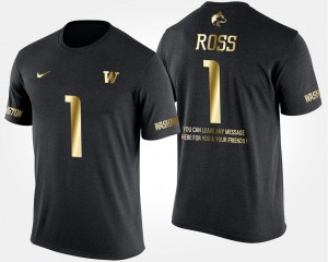 Black UW Gold Limited For Men's John Ross College T-Shirt #1 Short Sleeve With Message