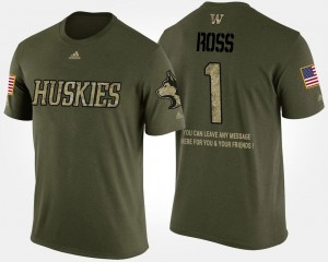#1 Camo Short Sleeve With Message Washington John Ross College T-Shirt For Men's Military