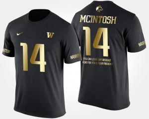 #14 Black Washington Huskies Short Sleeve With Message JoJo McIntosh College T-Shirt Gold Limited Men