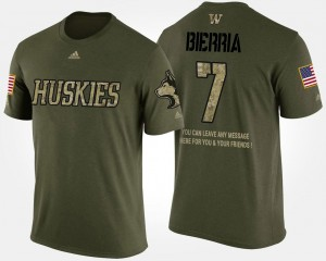 #7 Short Sleeve With Message For Men Camo Keishawn Bierria College T-Shirt Military University of Washington