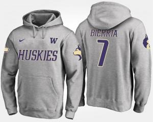 University of Washington #7 Gray Keishawn Bierria College Hoodie For Men