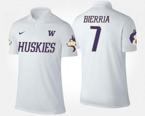 #7 Keishawn Bierria College Polo For Men's White Washington Huskies