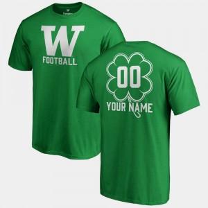 College Custom T-Shirts #00 Kelly Green Men St. Patrick's Day Fanatics Big & Tall Dubliner UW Huskies
