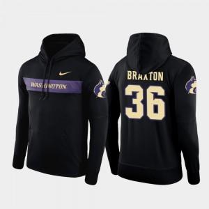 Malik Braxton College Hoodie Sideline Seismic #36 Washington Men's Black Football Performance
