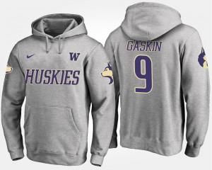 Myles Gaskin College Hoodie Gray #9 UW Huskies Men's