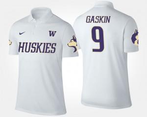 White Myles Gaskin College Polo Washington Huskies #9 For Men