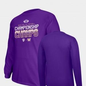 2018 PAC-12 Football Champions Locker Room Long Sleeve Big & Tall College T-Shirt Purple UW Huskies Mens